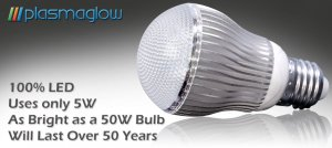 5 -WATT HOME LED BULB  (  WHITE,DIMMABLE)110V/220V - LASTS UP TO 50YEARS!