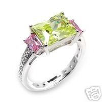 Peridot and Pink Emerald Cut CZ Cocktail Ring Size 8