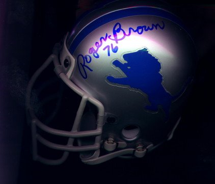 Detroit Lions Signed Mini Helmet Roger Brown