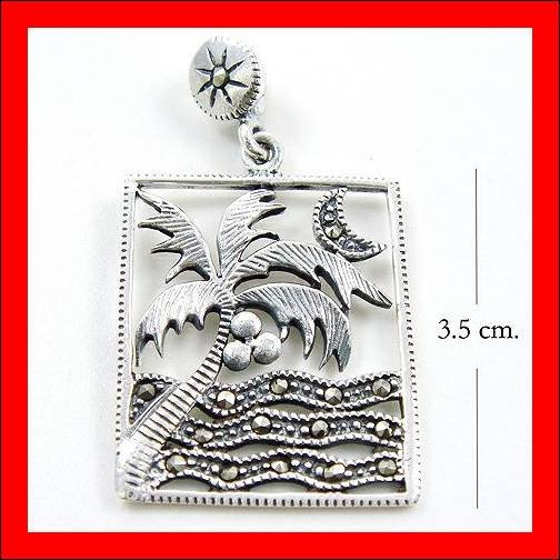 .925 Sterling Silver Marcasite Night Beach Pendants