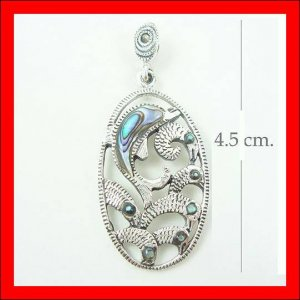 .925 Sterling Silver GreenShell Dolphin Pendants