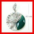 .925 Sterling Silver Green CZ Circle Flower Pendants