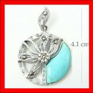 .925 Sterling Silver Turquoise Circle Flower Pendants