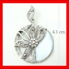 .925 Sterling Silver WhiteShell Circle Flower Pendants