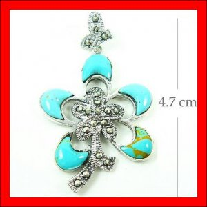 .925 Sterling Silver Turquoise Flower Pendants