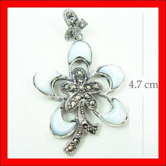 .925 Sterling Silver White Shell Flower Pendants