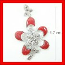 .925 Sterling Silver Red CZ Flower Pendants