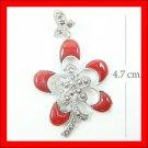 .925 Sterling Silver Red CZ Flower Pendants