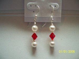 269 Ruby & White Swarovski Crystal Earrings