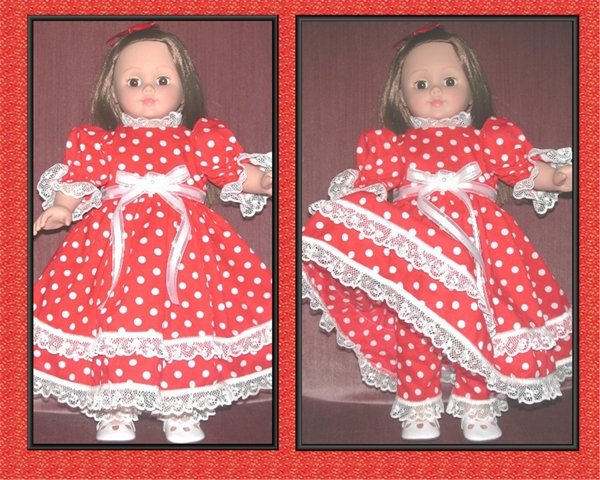 Doll Dress Red with White Polka Dots and Matching Pantaloons
