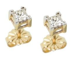 1/2 Carat Princess Cut Diamond Solitaire 14K Gold Stud Earrings