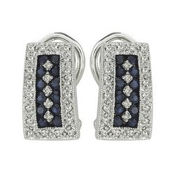 14K White Gold Sapphire & Diamond Earrings