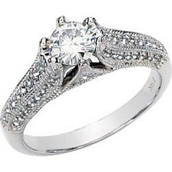 14K White Gold Round Created Moissanite & Diamond Engagement Ring
