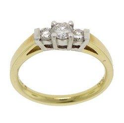 3 Stone 1/2 Carat Diamond 18K Two-Tone Gold Ring