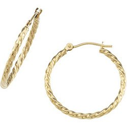 14K Yellow Gold Twisted Tube Hoop Earring