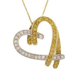1/2 Carat Diamond 14K Two-Tone Gold Heart Pendant Necklace