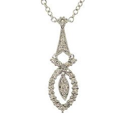 1/3 Carat Diamond 14K White Gold Dangle Necklace