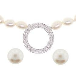 Freshwater Pearl Cubic Zirconia Sterling Silver Circle Necklace and Earrings Set