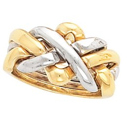 14K Two Tone Gold Puzzle Ring