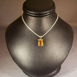 Sterling Silver Emerald Golden Citrine Pendant