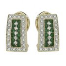 14K Yellow Gold Round Emerald & Diamond Earrings
