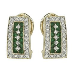 14K Yellow Gold Round Emerald & Diamond Earrings