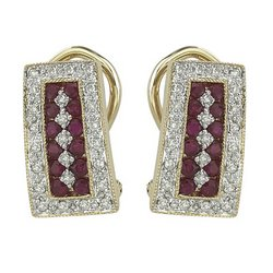 14K Yellow Gold Round Ruby & Diamond Earrings