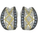 14K White Gold Round Blue Sapphire & Diamond Earrings