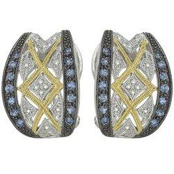 14K White Gold Round Blue Sapphire & Diamond Earrings