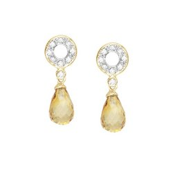 14K Yellow Gold Fancy Shape Citrine & Round Diamond Earrings