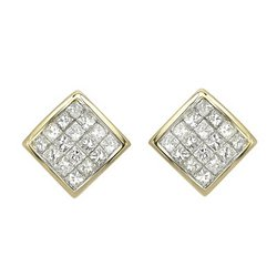 14K Yellow Gold Invisible Set Princess Diamond Earrings