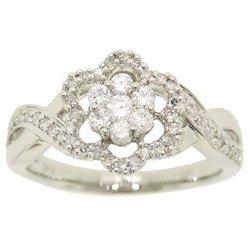 1/2 Carat Diamond 14K White Gold Flower Ring-Braided Band