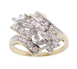 Diamond Gold Flower Cocktail Ring
