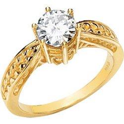 14K Yellow Gold Round Created Moissanite & Diamond Engagement Ring