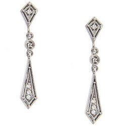 Sparkling Diamond 14K White Gold Dangle Earrings