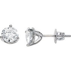 14K White Gold Created Moissanite Earring