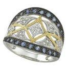 14K White Gold Round Blue Sapphire & Diamond Ring