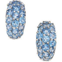 Sterling Silver Genuine Swiss Blue Topaz Earring