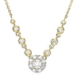 14K Yellow Gold Prong Set Round Diamond Flower Necklace