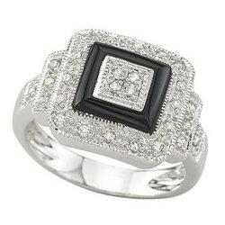 14K White Gold Onyx & Diamond Ring