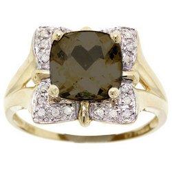 Large Smokey Topaz and Diamond Yellow Gold Ring Size 7