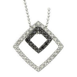 14K White Gold Round White & Black Diamond Pendant & Necklace - Square Design