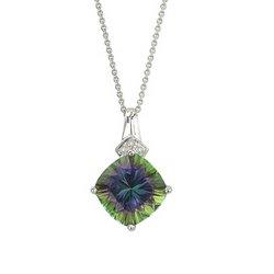 14K White Gold Mystic Topaz & Diamond Necklace