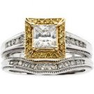 14K Two Tone Gold Diamond Bridal Engagement Semi Mount Ring