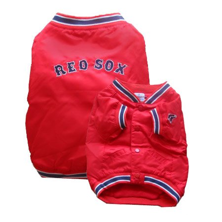 Boston Red Sox Dugout Style Dog Baseball Jacket Coat Size Large