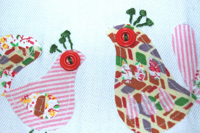 BIRDIE DISH TOWEL applique by anthropologie NWT