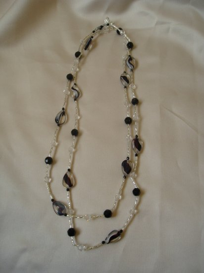 black streak glass beaded double strand necklace