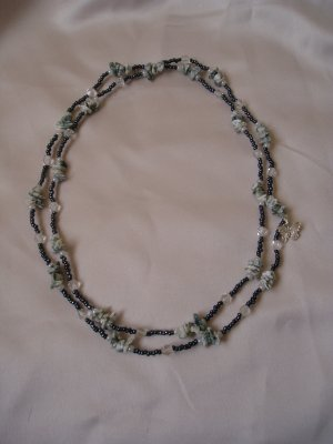 forest green shell double strand necklace