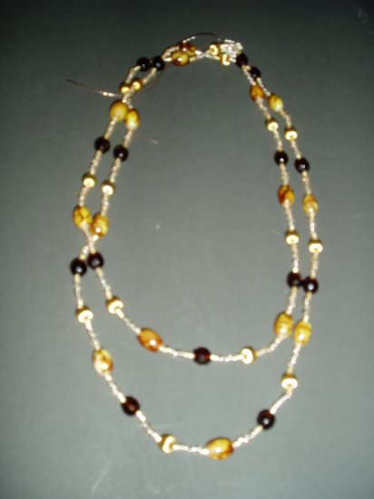 double strand brown marbled bead necklace