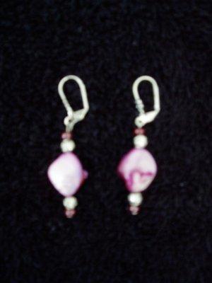 fushia stone earring